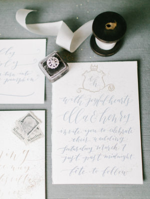 Blue Calligraphy Wedding Invitations