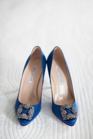 Blue Manolo Blahnik Hangisi Jeweled Pump