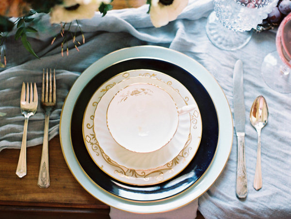 Blue and Black Wedding China
