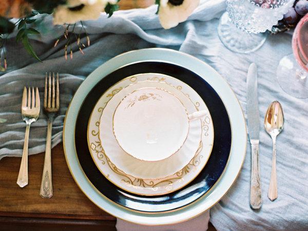 Blue and Black Wedding China