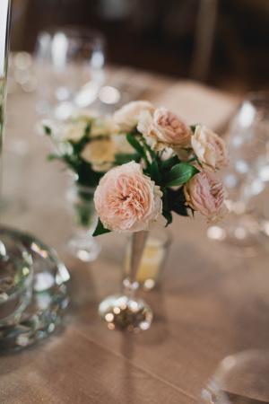 Blush Flowers in Silver Vessel
