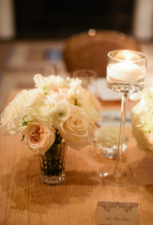 Blush and Ivory Rose Centerpiece