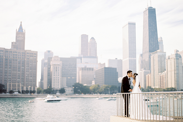 Bride And Groom Chicago Skyline