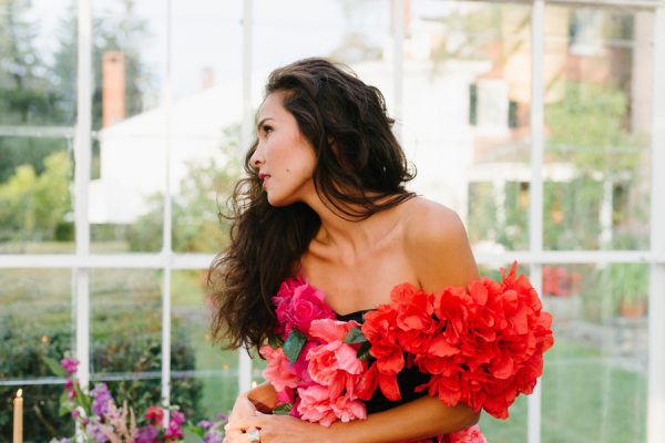 Bride in Dress with Large Flowers
