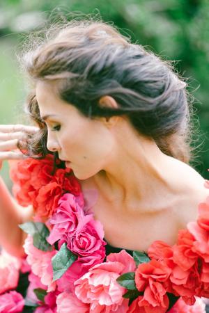Bride in Floral Dress