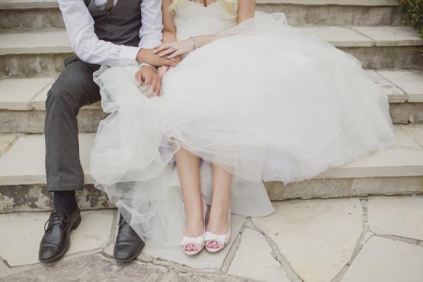 Bride in Pink Peep Toes