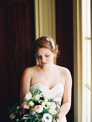 Bride with Romantic Art Life Headpiece