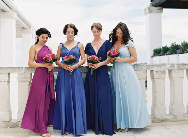 Bridesmaids in Blue and Purple