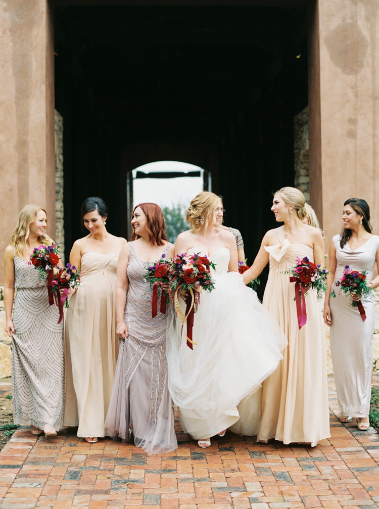 Bridesmaids in Blush and Lavender