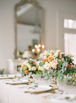 Centerpiece in Peach and Green