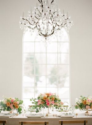 Centerpieces in Peach and Pink