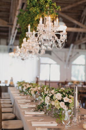 Chandeliers and Greenery at Reception