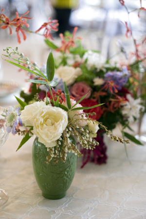 Colorful Flowers in Antique Vases