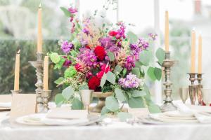 Dark Pink and Purple Wedding Flowers