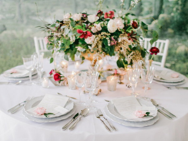 Delicate Red and Green Centerpiece