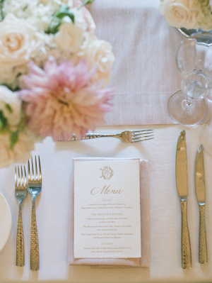 Gold Printed Wedding Menu