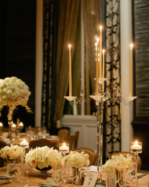 Gold Taper Candle Centerpiece