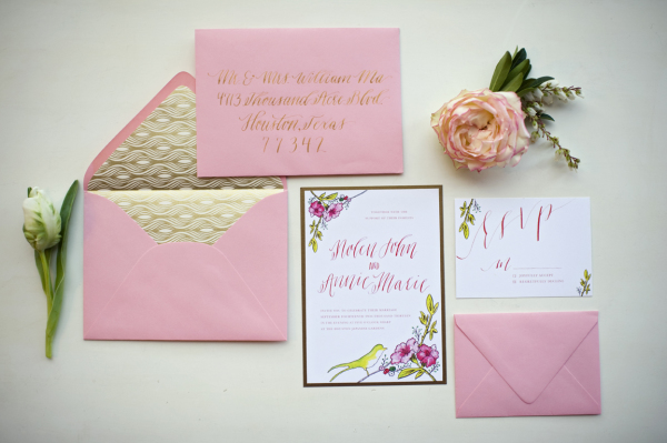 gold and pink wedding invitations