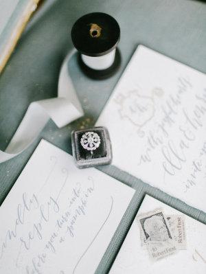 Gray Calligraphy Wedding Invitations