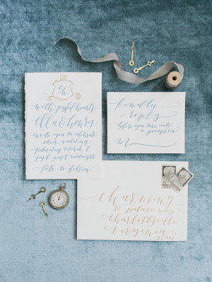 Gray and Blue Calligraphy Invitations