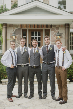 Groomsmen in Gray and Brown