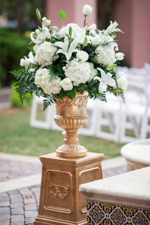 Ivory Rose and Hydrangea Tall Centerpiece