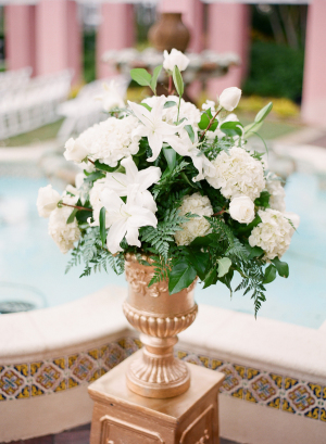 Ivory and Green Centerpiece in Urn