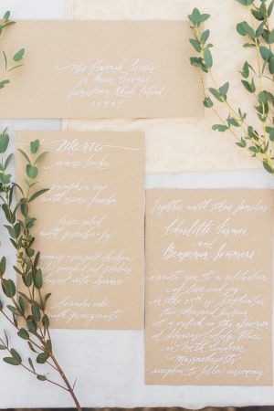 Kraft Paper and White Calligraphy Invitations