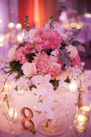 Orchid and Pink Hydrangea Centerpiece