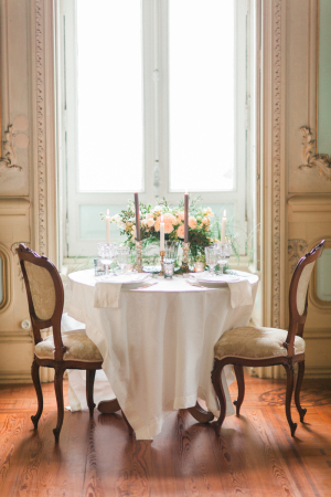 Pale Peach and Gray Wedding Table