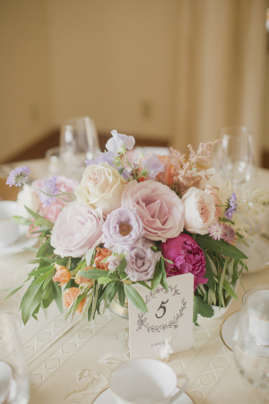 Pastel Rose and Peony Centerpiece