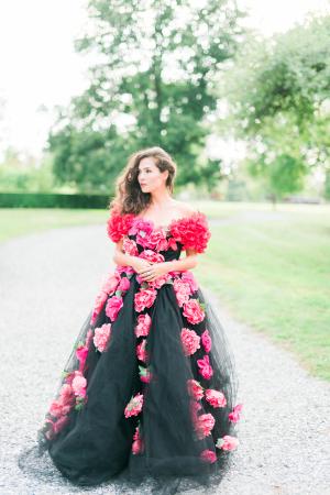 Pink Flowers on Wedding Dress