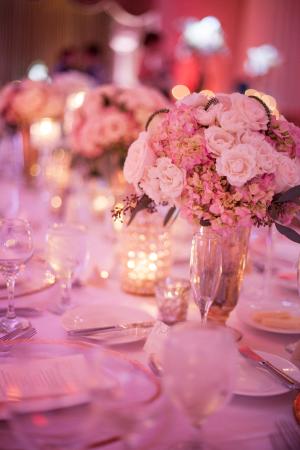 Pink Hydrangea and Rose Centerpiece
