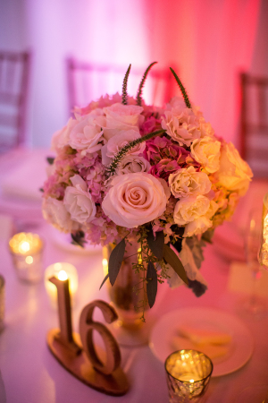 Pink Ivory and Gold Centerpiece