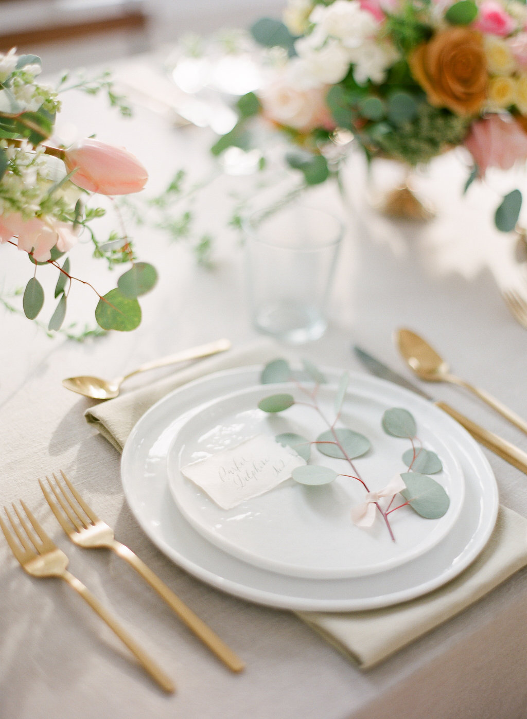Place Setting With Gold Flatware Elizabeth Anne Designs