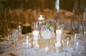 Posy and Candle Centerpiece