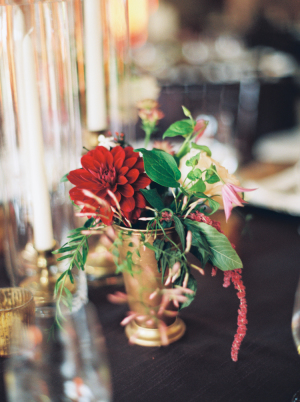 Red Dahlia Centerpiece