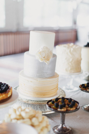 Silver and Pale Yellow Wedding Cake