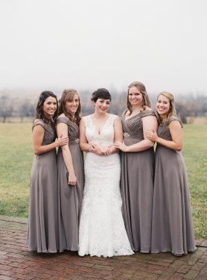 Silvery Gray Bridesmaids Dresses