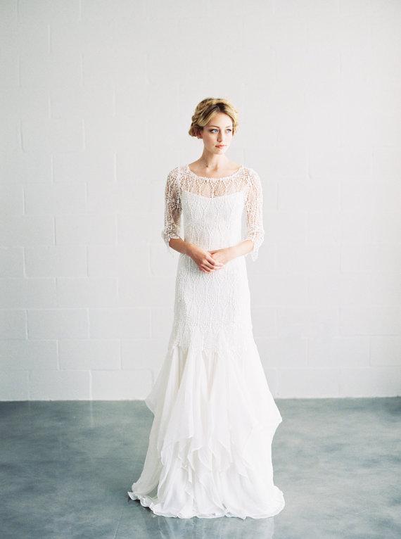 Sofia Venise Lace Silk Wedding Dress