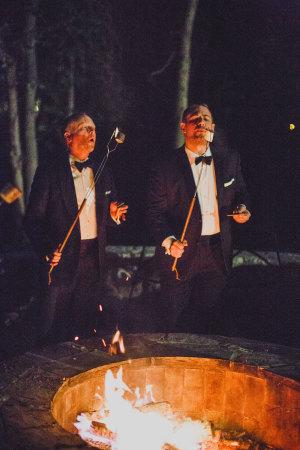 Toasting Marshmellows at Wedding