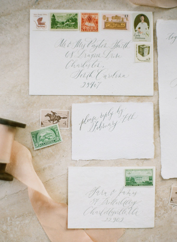 Vintage Stamps on Wedding Invitations Elizabeth Anne Designs The