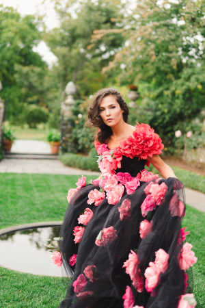 Wedding Dress Decorated with Flowers