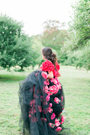 Wedding Dress with Black Tulle
