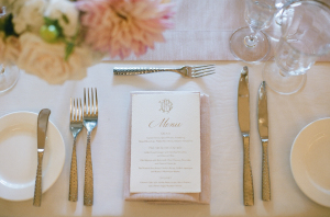 Wedding Menu Printed in Gold