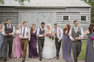 Wedding Party in Purple and Gray