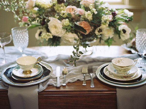 Wedding Table with Mismatched China