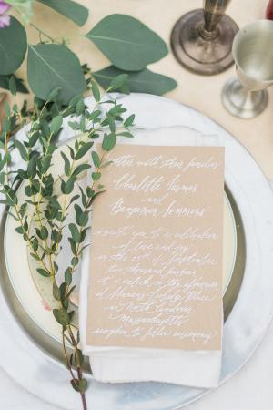 White Calligraphy on Kraft Paper