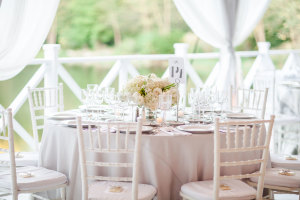 White and Gray Reception Tables