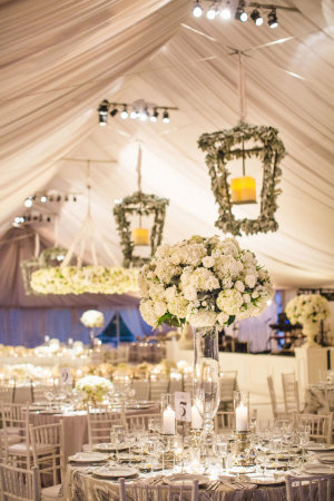 White and Gray Wedding Reception